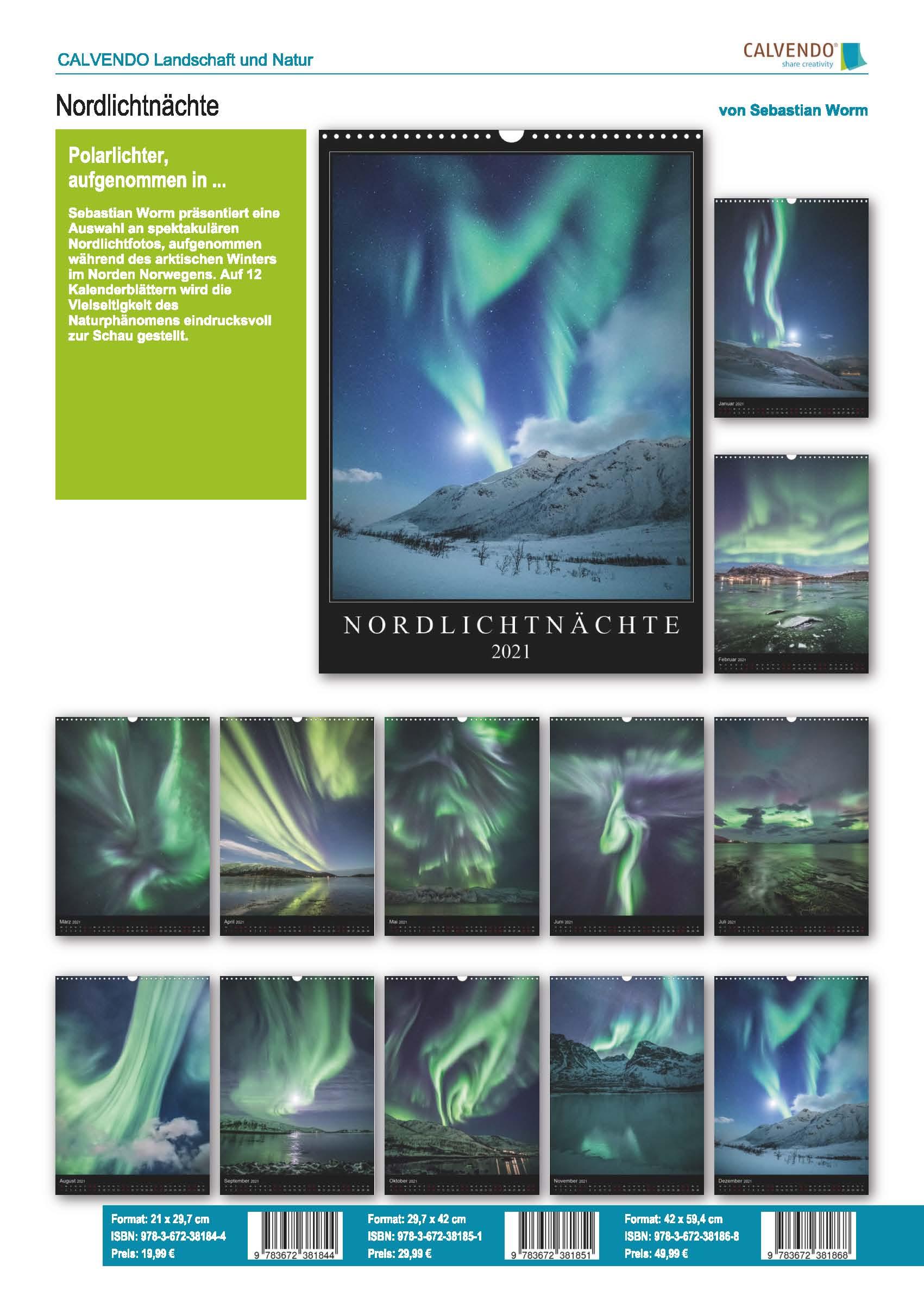 Aurora borealis Kalender 2021 Sebastian Worm