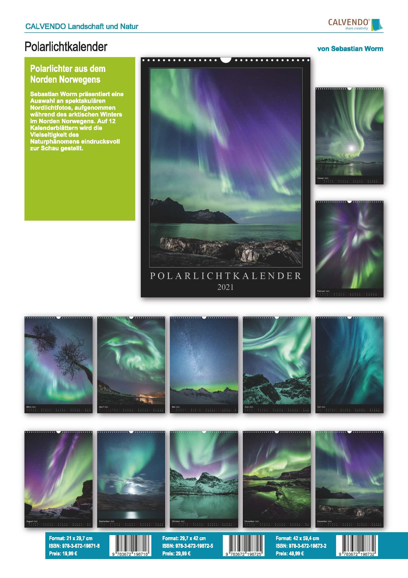 Katalogseite Aurora borealis Kalender 2021